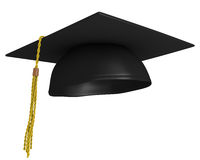 Square academic mortar board, or graduation cap, worn by college grads Stock Image