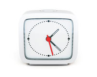 Square alarm clock isolated on white background. Front view. 3d Stock Photos