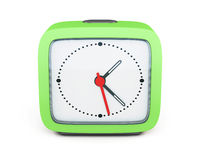 Square alarm clock  on white background. Front view. 3d Stock Image