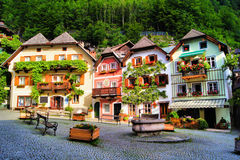 Square in an alpine Austrian village royalty free stock image