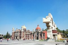The square with Anchient Basilica of Our Mary of Guadalupe, Mexi Stock Images
