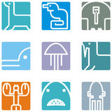 Square animal icons Royalty Free Stock Image