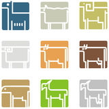 Square animal icons Royalty Free Stock Photo