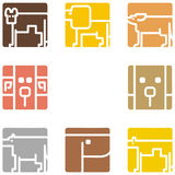 Square animal icons Royalty Free Stock Photos