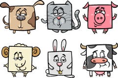 Square animals set cartoon illustration Stock Image