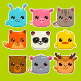 Square animals set Royalty Free Stock Photos
