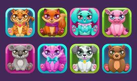 Square app icons with cute cartoon little pets. Vector animals collection royalty free illustration