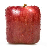 Square apple on a white background. Royalty Free Stock Photography