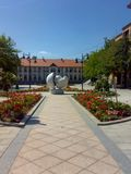 Square in Arandjelovac, Serbia. On sunny day with blue sky royalty free stock photos