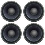 4 square arranged loudspeakers as texture. Isolated on white stock photography