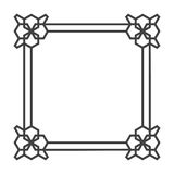 Square asian vector retro frame in black and white. Illustration of ornament Stock Photography