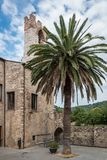 Square at the back of the town hall in Suvereto, Tuscany, Italy stock image