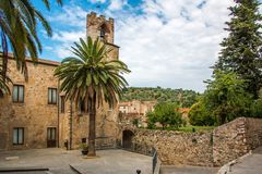 Square at the back of the town hall in Suvereto, Tuscany, Italy stock photos