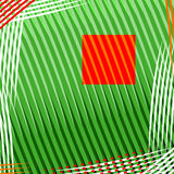 Square background. Little red square on green square background, primitivism, place for text, vector without gradients Royalty Free Stock Photo