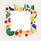 Square background or banner template with frame made of fresh organic locally grown fruits and vegetables. Colorful vector illustration