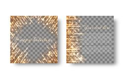Square background with flickering light. A glowing background with bright golden light rays on a transparent backdrop Stock Image