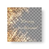 Square background with flickering rays. Glittering golden particles and bright star rays for a festive decor on a transparent backdrop Stock Photography