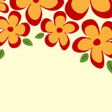 Square background with a floral border. Simple flowers and leave Stock Photos