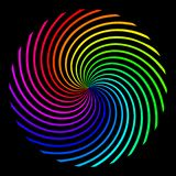 Square background in the form of a colored rainbow spiral vector illustration