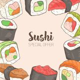 Square background with frame consisted of different types of Japanese sushi and rolls hand drawn. Special offer. Vector Stock Images