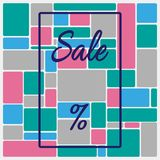 Square background with frame, text Sale and percent sign. Template for advertising. Vector illustration. royalty free illustration