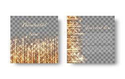 Square background with golden rays. Christmas background with bright particles, golden rays and light lights for a festive design on a transparent backdrop Stock Images