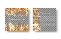 Square background with golden sparks. Festive radiant golden background with sparkles of light for the New Year`s decoration on the transparent backdrop Stock Photography