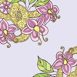Square background with hand drawn colorful doodle flowers, leafs. And ribbon with swirl. Vector illustration Royalty Free Stock Photos