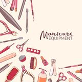Square background with manicure equipment. Hand drawn banner wit Royalty Free Stock Photography
