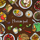 Square background with mexican food, traditional cuisine. Hand drawn colorful vector illustration with various dishes. Royalty Free Stock Image