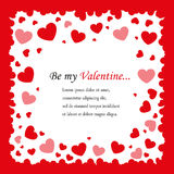 Square background with red hearts. Postcards Valentine`s Day square background with red hearts and space for text in the middle Royalty Free Stock Photography