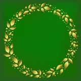Square background stylized as green velvet with decorative circle frame of golden leaves and dots vector illustration