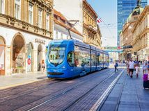 Square Ban Josip Jelacic with tourists and trams on a summer day in Zagreb. stock photo