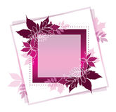 Square banner of autumn leaves with white contour. Frame of leaves for card, invitation, wedding. Royalty Free Stock Photos