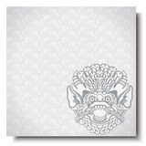 Square banner with Barong head. Balinese traditional ornament. Silver background. Stock Photo