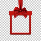 Square banner in form of gift with red ribbon and bow. Square banner in form of gift with red ribbon and bow, on transparent background. Brochure, greeting card Stock Photo