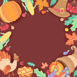 Square banner, frame with thanksgiving symbols Royalty Free Stock Photo