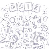 Square banner with hands of people solving riddles, answering quiz questions, taking part in intellectual competition royalty free illustration