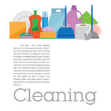 Square banner with items for cleaning. Template cleaning. Square banner with items for cleaning. Flat background light Royalty Free Stock Image