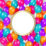 Party banner with balloons and space for text. Square banner, poster design with shiny balloons and empty round space for text, realistic vector illustration Stock Photos