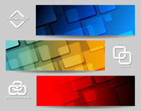 Square Banner Set. Abstract geometrical banners or Headers set. Rounded rectangles and sample text Stock Image