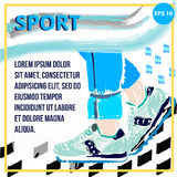 Square banner for the sport. Vector picture with sneakers. Poster sneakers and a blue background. Drawn Sneakers crayons. Pastel shades.Banner with the effect royalty free illustration