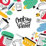 Square banner template decorated by various kitchen utensils, kitchenware or tools for food preparation. Cooking school royalty free illustration