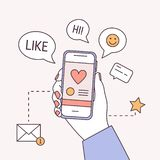 Square banner template with hand holding smartphone, speech bubbles and new message symbol. Social media marketing stock illustration
