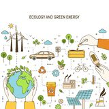 Square banner template with hands holding planet, lightbulb and seeds surrounded by wind and solar power plants royalty free illustration