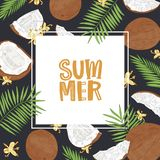 Square banner template with Summer word surrounded by frame made of coconuts, palm tree branches and flowers. Seasonal vector illustration