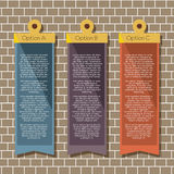 Square Banners Hang On Brick Wall Stock Photo