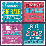 Square banners with sale offer, vector. Illustration stock illustration