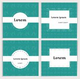 Square banners of teal color with linear teapots on the background. White space for text. Simple, stylish cards for decoration of vector illustration