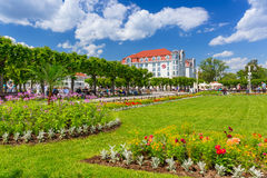 Square with beautiful gardens at the Sopot Molo, Poland Stock Image